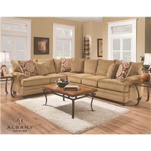 Marvelous 8645 Transitional Sectional With Rolled Arms By Albany At Royal Furniture Ibusinesslaw Wood Chair Design Ideas Ibusinesslaworg