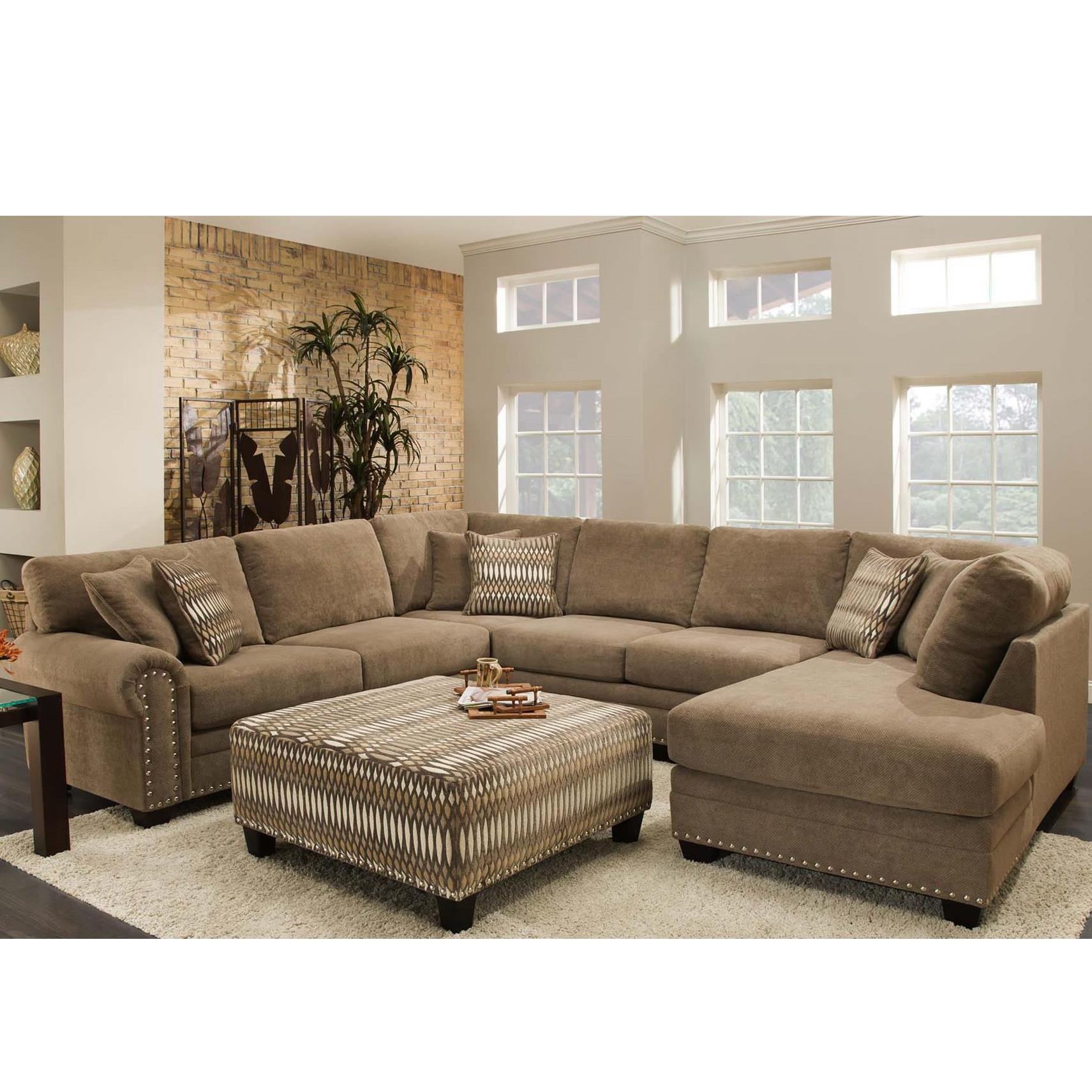Albany 8648 Collection Casual Sectional - Item Number: 8648-61+67+63-Bigo Porcini