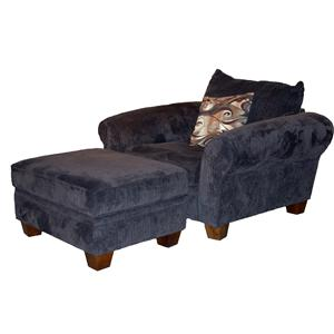 Vendor 775 910 Transitional Chair and Ottoman Set