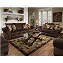 Albany 910 Transitional Rolled Arm Loveseat with Exposed Wood Legs - Living Room Setting with Ottoman and Chair Partially Pictured