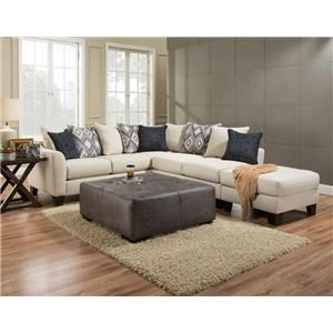 Charming 2 Piece Sectional Sofa In Dynasty Cream Fabric
