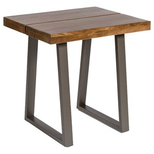 Contemporary End Table With Wood Top