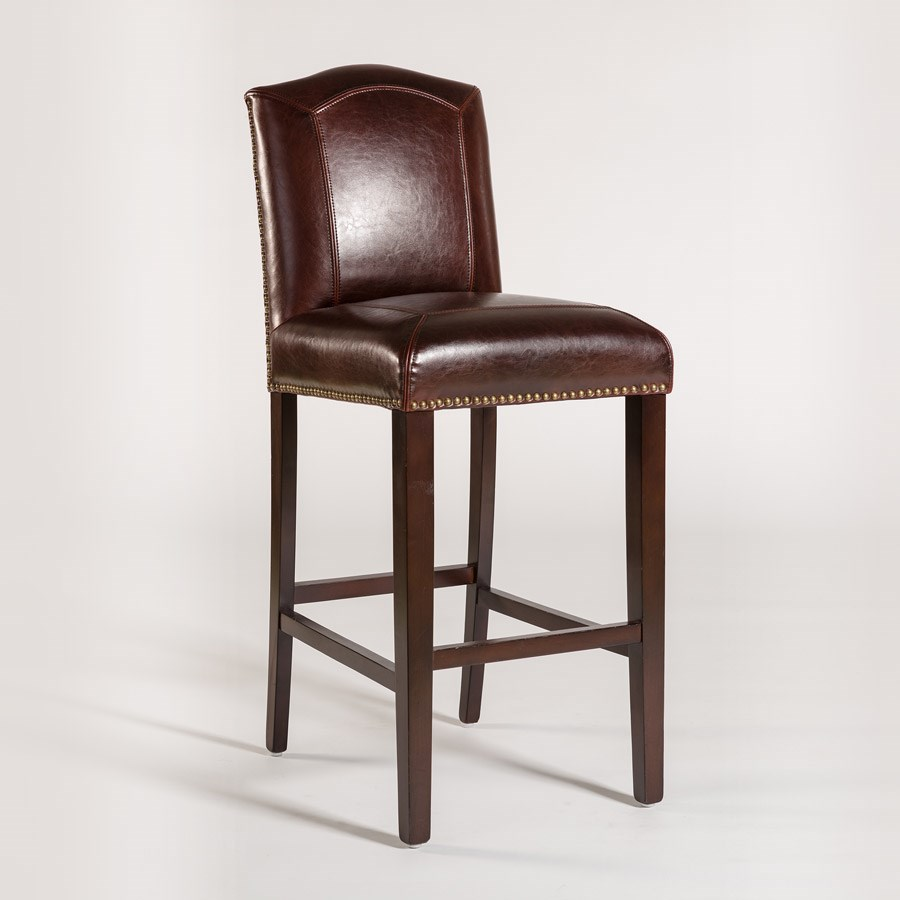 Alder Amp Tweed Cloister Bar Height Stool With Leather Back