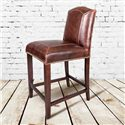 Belfort Leather Cloister Counter Height Stool with Leather Back and Seat