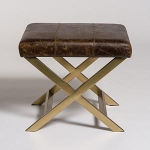 Belfort Leather Hudson Cross Ottoman