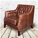Belfort Leather London Antique-Like Leather Chair with Tufted Back
