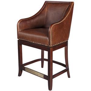 Belfort Leather Manchester Swivel Bar Stool