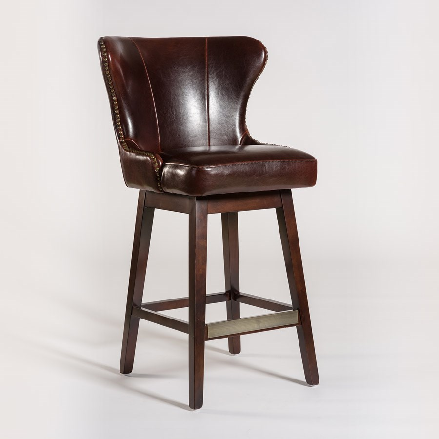 Belfort Leather Rockwell Upholstered Leather Bar Stool