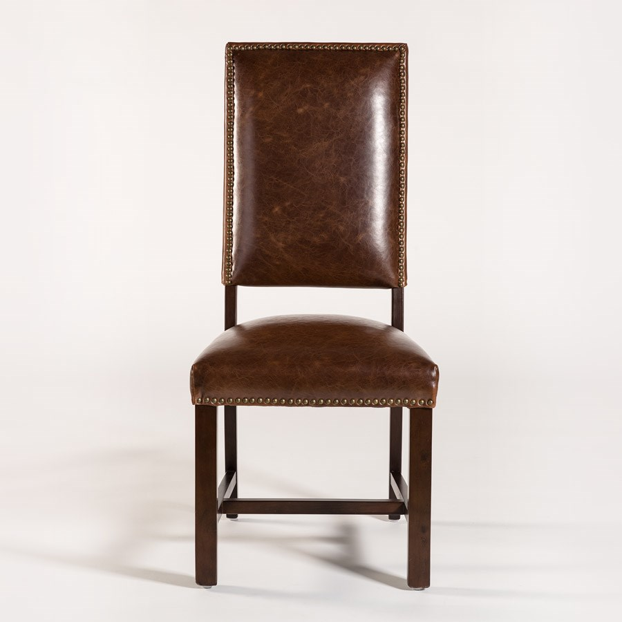 Alder Tweed Weston Dining Side Chair With Leather Back And Seat Boulevard Home Furnishings