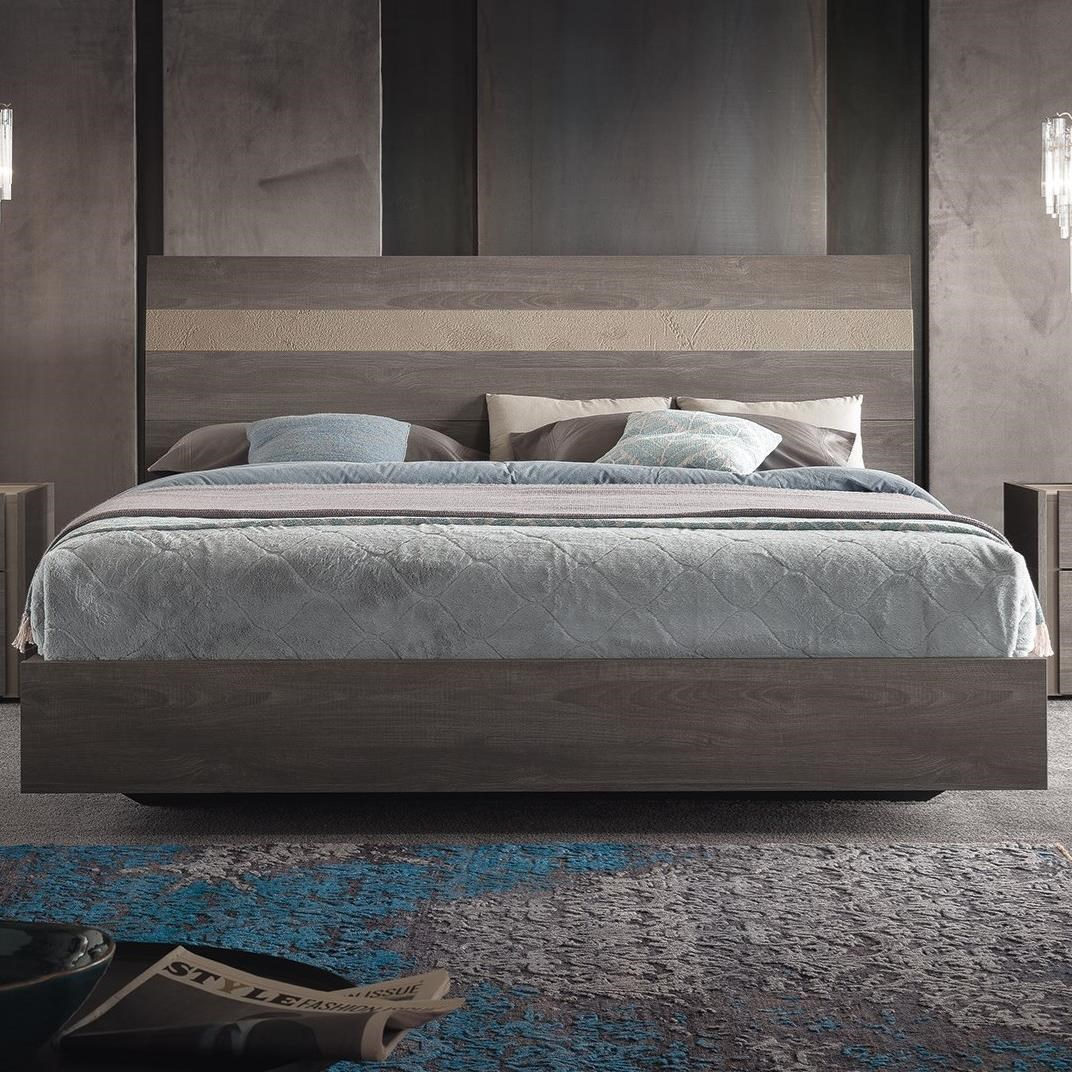 Picture of: Alf Italia Nizza Pjni0175 Contemporary King Platform Bed With Two Tone Headboard Corner Furniture Platform Beds Low Profile Beds