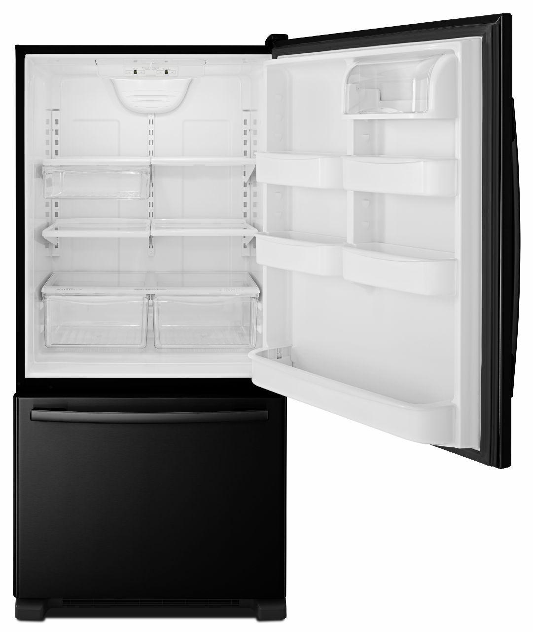 Amana Bottom Mount Refrigerators 22 Cu. Ft. Bottom-Freezer Refrigerator - Item Number: ABB2224BRB