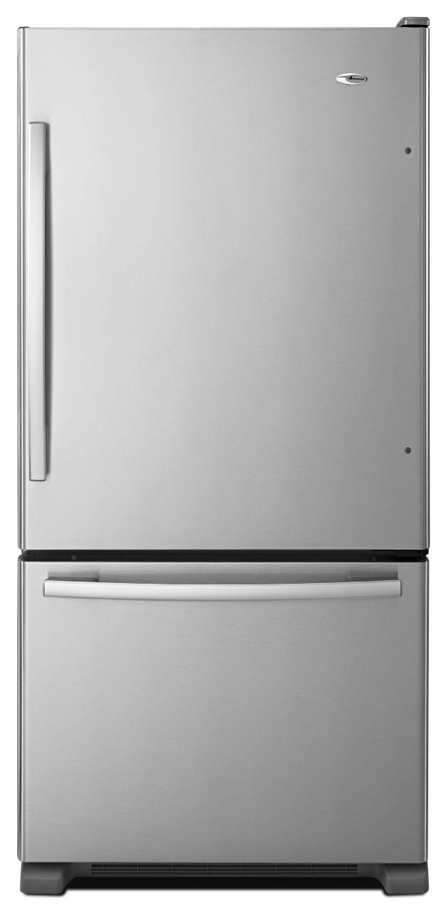 Amana Bottom Mount Refrigerators 22 Cu. Ft. Bottom-Freezer Refrigerator - Item Number: ABB2224BRM