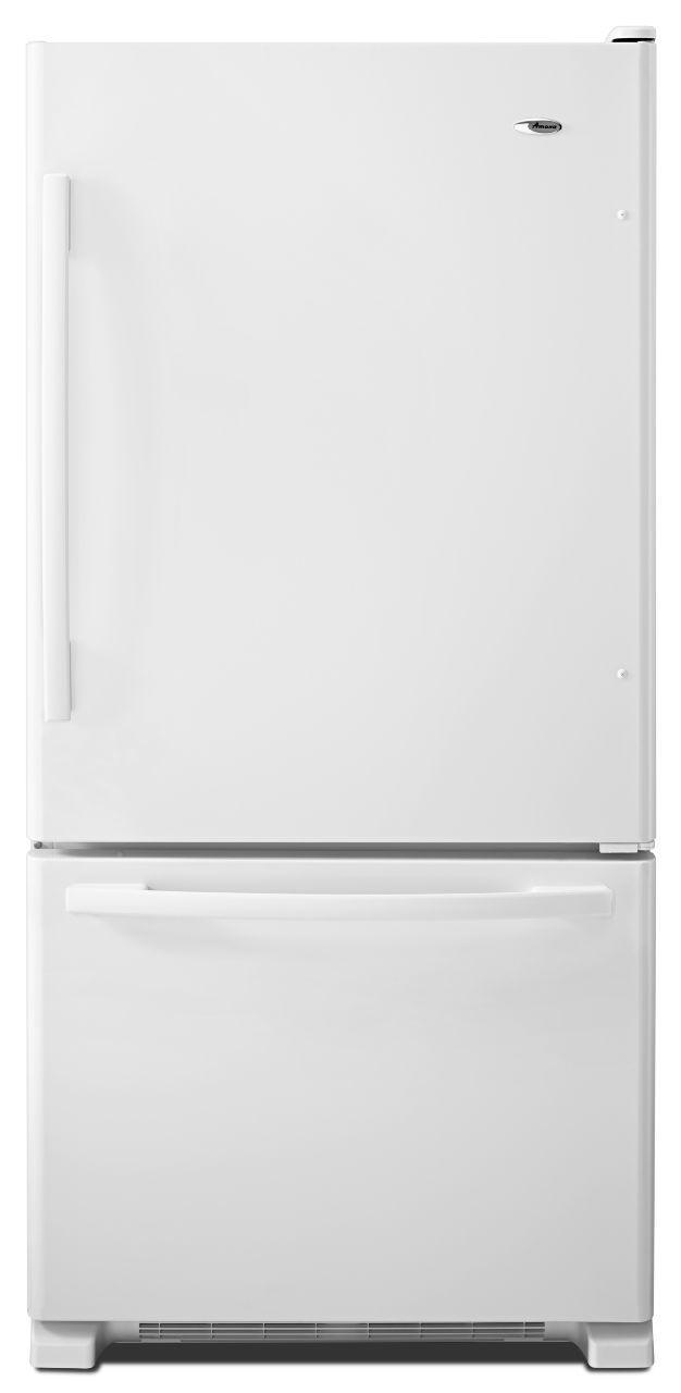 Amana Bottom Mount Refrigerators 22 Cu. Ft. Bottom-Freezer Refrigerator - Item Number: ABB2224BRW