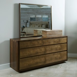 American Drew Ad Modern Organics Howard Six Drawer Dresser and Mirror