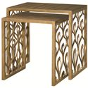 American Drew Bob Mackie Home 2 Nesting Tables with Peacock Feather Design - 308-917