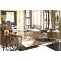 American Drew Bob Mackie Home Round End Table with Metal Base - 308-918