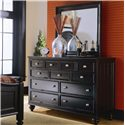 American Drew Camden - Dark 9 Drawer Dresser  - Dresser Chest Featured with Mirror