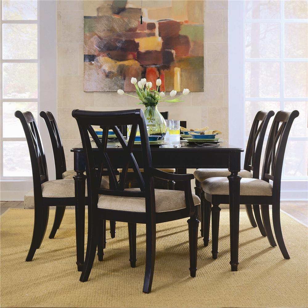 Camden   Dark Rectangular Dining Set With Splat Back Chairs By American Drew