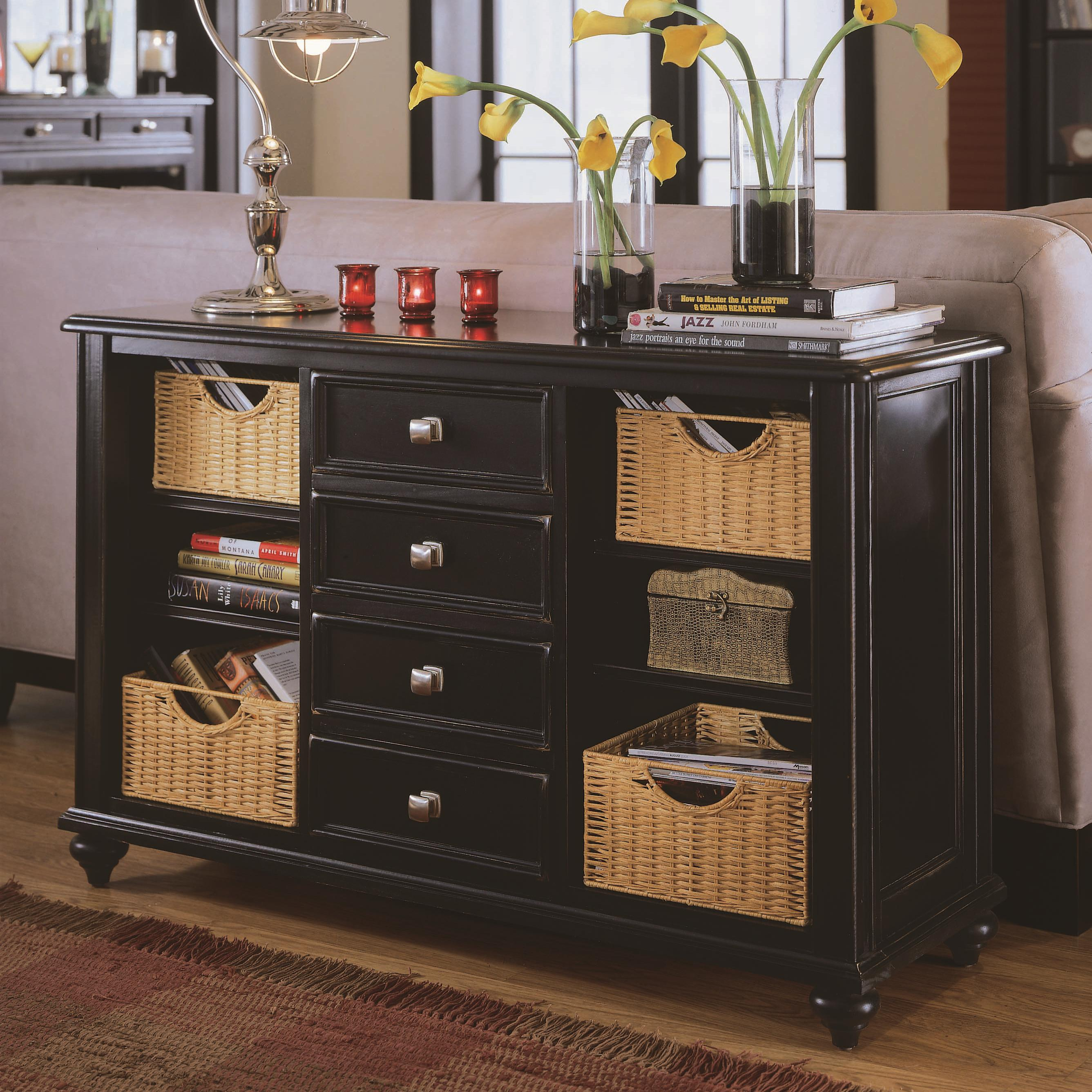 American Drew Camden   Dark Console Table With 4 Drawers And 4 Baskets    AHFA   Sofa Table Dealer Locator