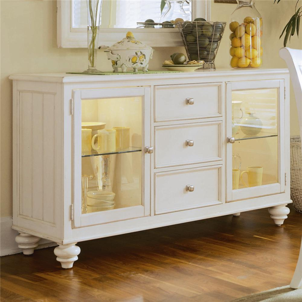 American Drew Camden - Light China Buffet/Credenza with 2 Glass ...