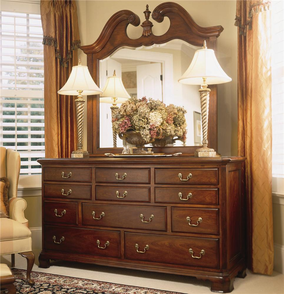 American Drew Cherry Grove 45th Landscape Mirror and Triple Dresser - Item Number: 790-021+130