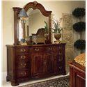American Drew Cherry Grove 45th Triple Door Dresser and Landscape Mirror Combination