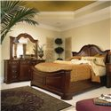American Drew Cherry Grove 45th Triple Door Dresser and Landscape Mirror Combination - Shown with Mansion Bed