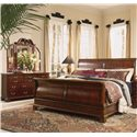 American Drew Cherry Grove 45th Triple Dresser and Trifold Mirror Combination - 790-070+130 - Shown with Sleigh Bed