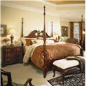 American Drew Cherry Grove 45th King Pediment Poster Bed with Turned Posts - Shown with Night Stand and Bed Bench - Bed Shown May Not Represent Size Indicated