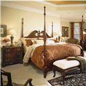 American Drew Cherry Grove 45th Traditional 3 Drawer Night Stand - Shown with Pediment Poster Bed and Bed Bench