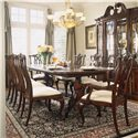 American Drew Cherry Grove 45th Dining Side Chair with Pierced Back - Shown with Pedestal Table and Breakfront China Cabinet