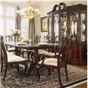 American Drew Cherry Grove 45th Double Pedestal Dining Table - Shown with Pierced Back Arm and Side Chairs and Breakfront China Cabinet