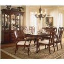 American Drew Cherry Grove 45th Canted Glass Door China Cabinet - Shown with Classic 7-Piece Dining Set