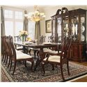 American Drew Cherry Grove 45th China Cabinet with Breakfront Doors - Shown with 9 Piece Traditional Dining Set