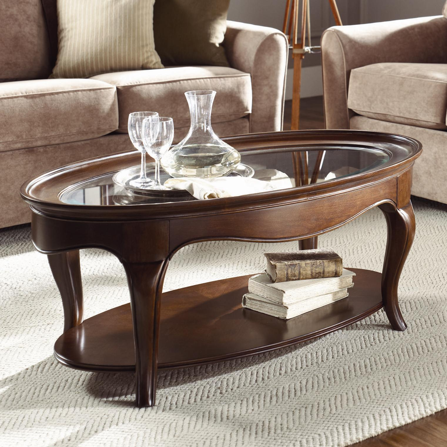 American Drew Cherry Grove Oval Cocktail Table With Glass Top   AHFA    Cocktail Or Coffee Table Dealer Locator