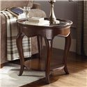 American Drew Cherry Grove Oval End Table with Glass Top - 091-916A
