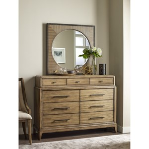 Bureau and Round Mirror with Square Frame