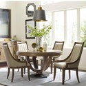 American Drew EVOKE  5 Piece Table and Upholstered Chair Set - Item Number: 509-701R+4x622
