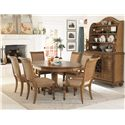 American Drew Grand Isle 7-Piece Island-Inspired Single Pedestal Table & Dining Arm/Side Chairs with Upholstered Cushion Seats & Backs Set - Shown with Buffet & Hutch