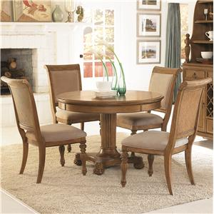 5 Piece Round Pedestal Dining Table U0026 Side Chairs With Upholstered Seats U0026  Backs Set