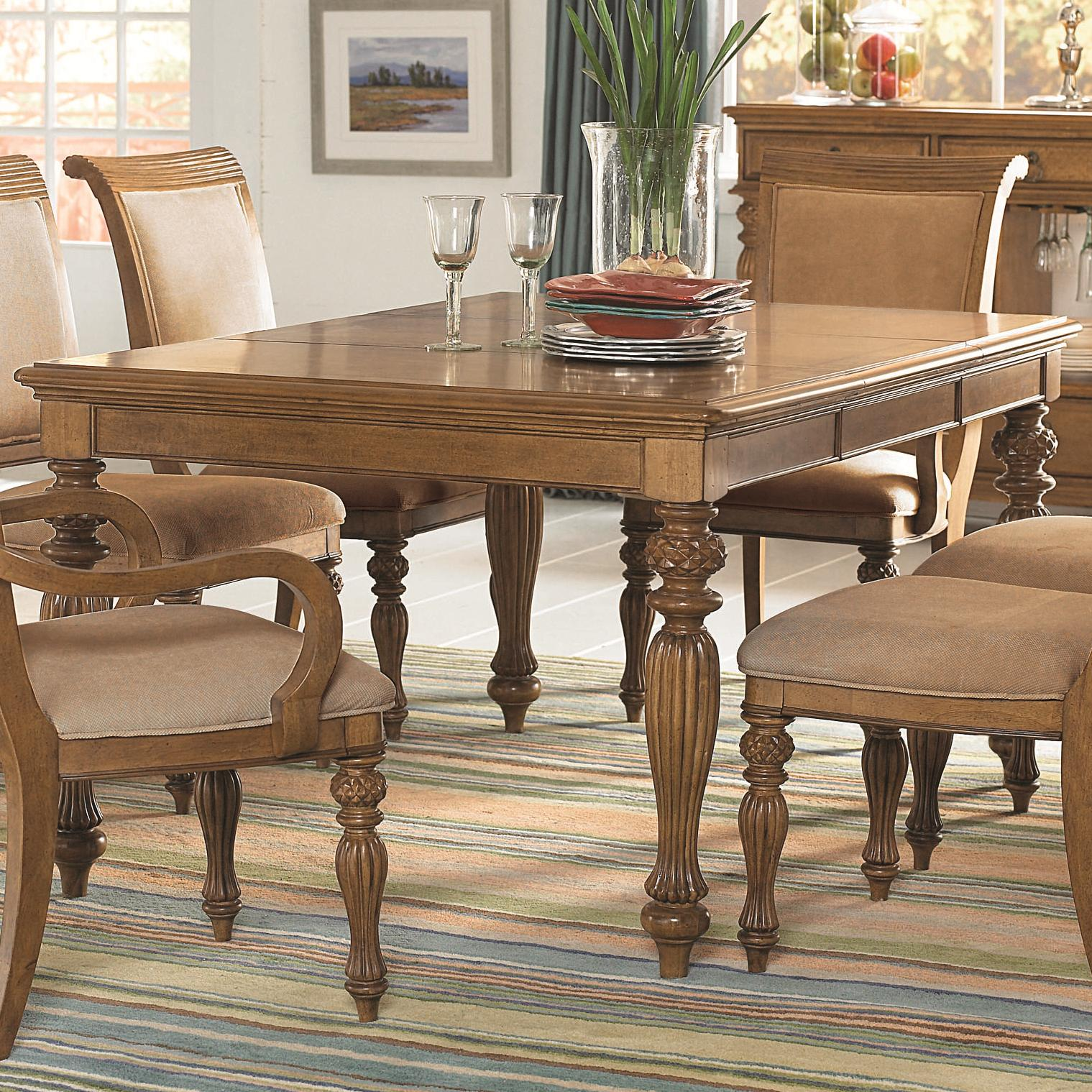 Island inspired rectangular turned leg dining table with for Dining room table leg designs