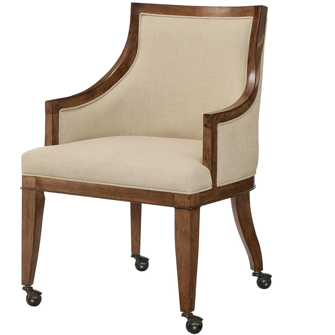 Grove Point Upholstered Dining Arm Chair With Casters By American Drew