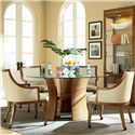 American Drew Grove Point Round Table and Upholstered Chair Set - 314-701+801+4x671