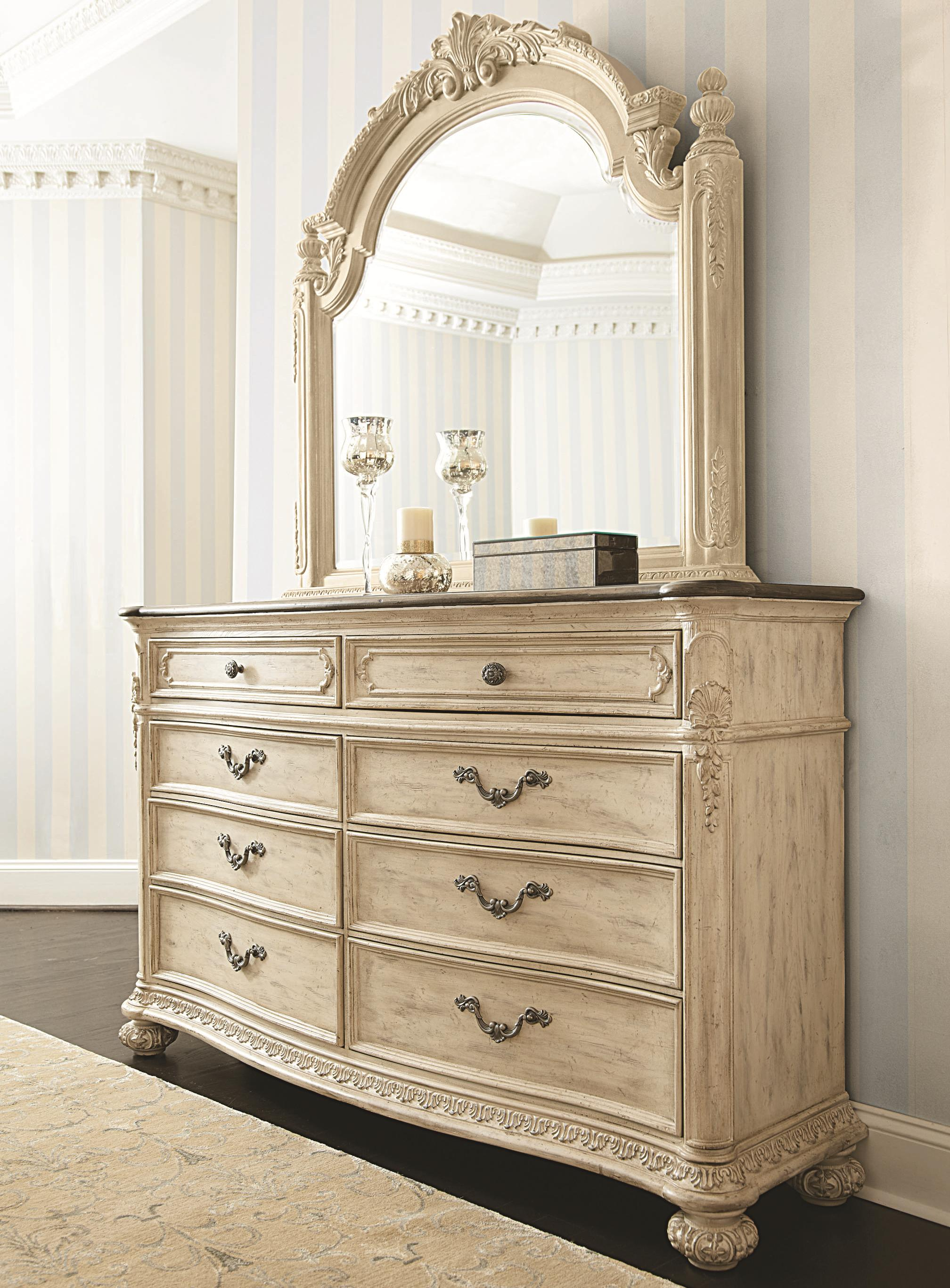 American Drew Jessica McClintock Home - The Boutique Collection Dresser & Mirror - Item Number: 217-130W+021W
