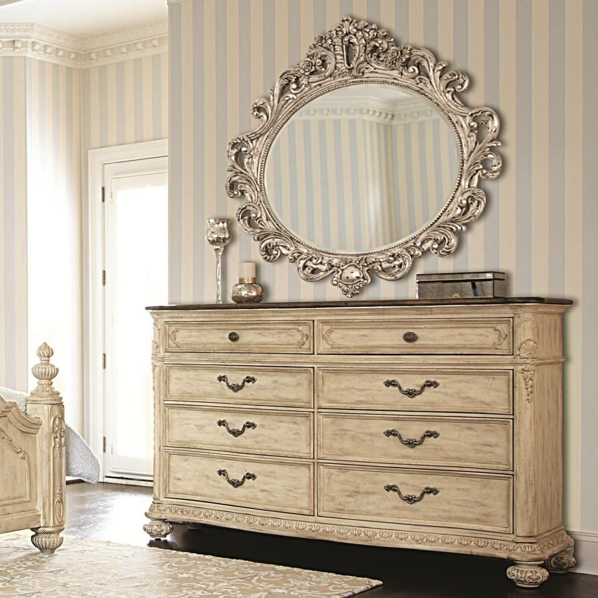 American Drew Jessica McClintock Home - The Boutique Collection Dresser & Mirror - Item Number: 217-130W+040