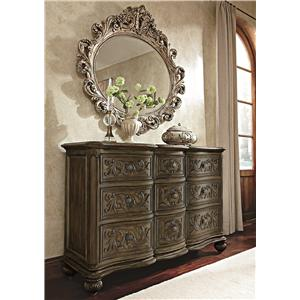 Jessica McClintock Home - The Boutique Collection 9 Drawer Dresser & Oval Decorative Mirror by American Drew