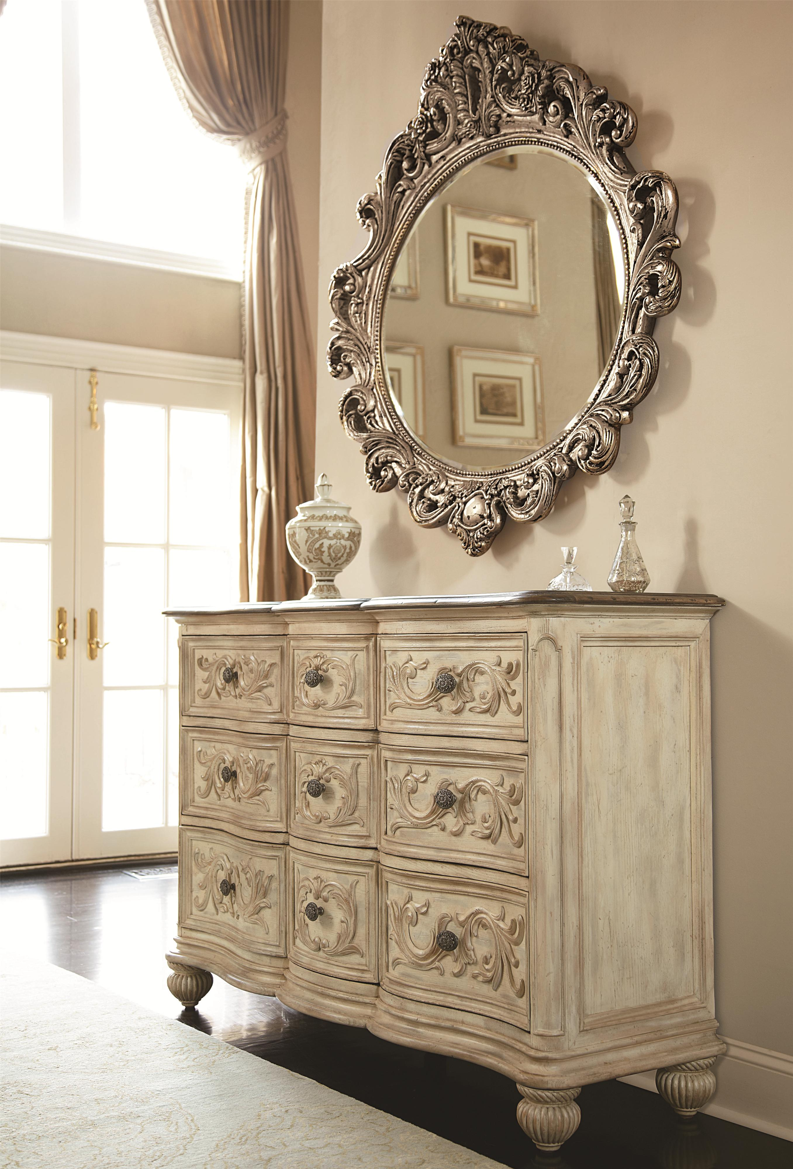 Jessica Mcclintock Home The Boutique Collection 9 Drawer Dresser Oval Decorative Mirror By American Drew