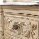 American Drew Jessica McClintock Home - The Boutique Collection 9 Drawer Dresser with Foliage Drawer Fronts - 217-131W - Detail of Foliage Carved Drawer Fronts