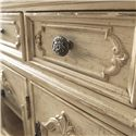 American Drew Jessica McClintock Home - The Boutique Collection Entertainment Console with 2 Glass Front Doors - 217-585W - Detail of Raised Edge Drawer Fronts and Darkened Antique Pewter Rosette Knobs