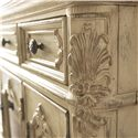 American Drew Jessica McClintock Home - The Boutique Collection Entertainment Console with 2 Glass Front Doors - 217-585W - Detail of Acanthus Leaf Carvings